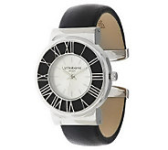 As Is Liz Claiborne New York Leather Cuff Watch - J288800