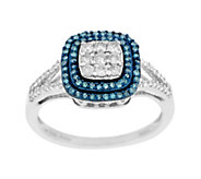 Cushion Pave Halo Diamond Ring, Sterling, 1/2 cttw, by Affinity - J290400