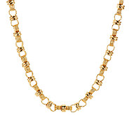 Veronese 18K Clad 20 Polished & Textured Status Link Necklace - J293500