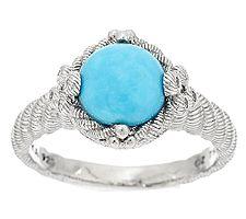 Judith Ripka Sterling Diamonique & Turquoise Cabachon Ring
