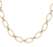 As Is 14K Gold 20 Two- Tone Textured Link Design Necklace - J294000