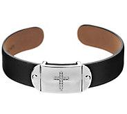 Diamonique Black Leather Symbol Cuff Station - J295300