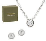 Judith Ripka Sterling 118 Facet Diamonique Stud & Necklace Set - J297000