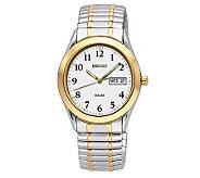 Seiko Mens Two-Tone Solar Watch Bracelet - J297400