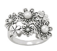 Suspicion Sterling Marcasite and Cultured PearlFlower Ring - J298500