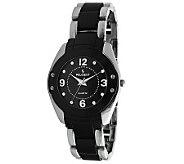 Peugeot Womens Round Silvertone Black AcrylicLink Watch - J307200