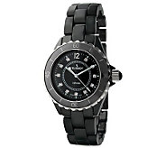 Peugeot Womens Swiss Ceramic Black Dial SportBezel Watch - J308600