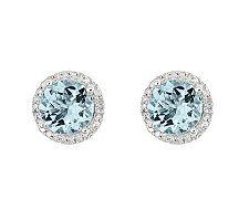 2.00 cttw Aquamarine & 1/8 cttw Diamond Halo Earrings, 14K