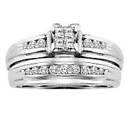 Affinity Diamond 1/2 cttw Square Cluster 2-piece Ring Set, 14 - J311400