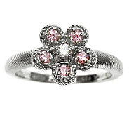 Judith Ripka Sterling Pink & Clear Diamonique Flower Ring - J312000