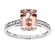 Emerald Cut Morganite & 1/10 ct tw Diamond Ring, 14K - J314800