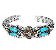 Barbara Bixby Sterling & 18K Turquoise Scarab Cuff Bracelet - J315200