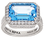 Judith Ripka 7.00 cttw Blue Topaz & Diamonique Sterling Ring - J320400