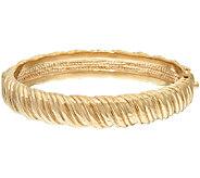 14K Gold Large Polished Ribbed Hinged Bangle, 15.2g - J320800