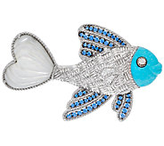 Judith Ripka Sterling Gemstone & Diamonique Fish Pin - J320900