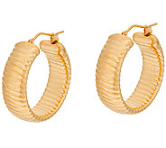 Oro Nuovo 1 Ribbed Round Hoop Earrings 14K - J321200