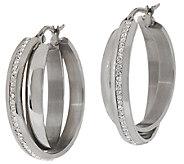 Stainless Steel Polished Crystal Double Round Hoop Earrings - J322300