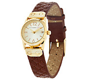 Isaac Mizrahi Live! Mini Round Quilted Strap Watch - J323400