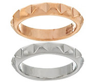 As Is Bronzo Italia Polished Set of 2 Pyramid Design Stack Rings - J323600