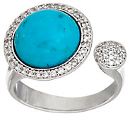 Vicenza Silver Sterling Turquoise & Crystal Cuff Ring - J325800