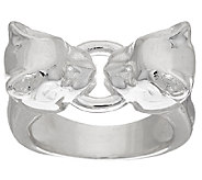 As Is UltraFine Silver Polished Panther Head Ring - J327300