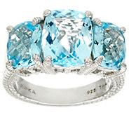 Judith Ripka Sterling 7.80 cttw Blue Topaz 3-Stone Ring - J327900