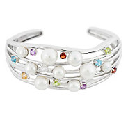 As Is Honora Cultured Pearl 2.20 ct tw Multi-Gemstone Large Cuff - J328200