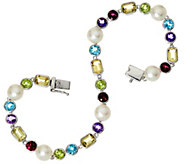 Honora Cultured Pearl 6.5mm & Multi-gemstone Sterling Tennis Bracelet - J329100