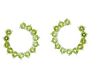 Gemstone Sterling Silver Front to Back Hoop Earrings 3.30 cttw - J329400