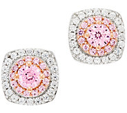 Diamonique 100-Facet Pink Halo Stud Earrings, Sterling - J329600