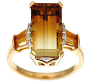 Bi-Color Quartz & Citrine Bold Sterling/14K Plated Ring 5.50 cttw - J329800