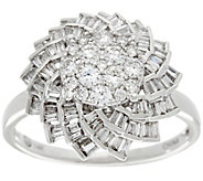 Round and Baguette Floral Diamond Ring, 14K, 3/4 cttw, by Affinity - J330600