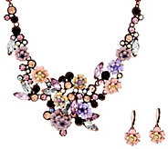 As Is Joan Rivers Language of Flowers Rose Necklace and Earrings Set - J333300