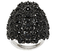 As Is 6.25 cttw Black Spinel Bold Elongated Sterling Ring - J335000