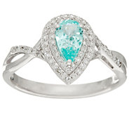 Pear Shaped Paraiba Tourmaline & Diamond Ring 14K, 0.35 ct - J335700