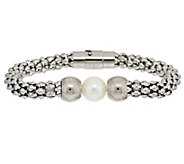 As Is Stainless Steel Popcorn Chain Bracelet with Bead Station - J346300