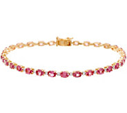 Hot Pink Spinel & Diamond 8 Tennis Bracelet 14K Gold 4.90 cttw - J346800