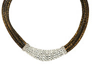 As Is JAI Sterling & Leather Layered Bold Hill Tribe Necklace - J347300