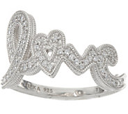 Judith Ripka Sterling Silver 4/10 cttw Diamonique Pave Love Ring - J348000