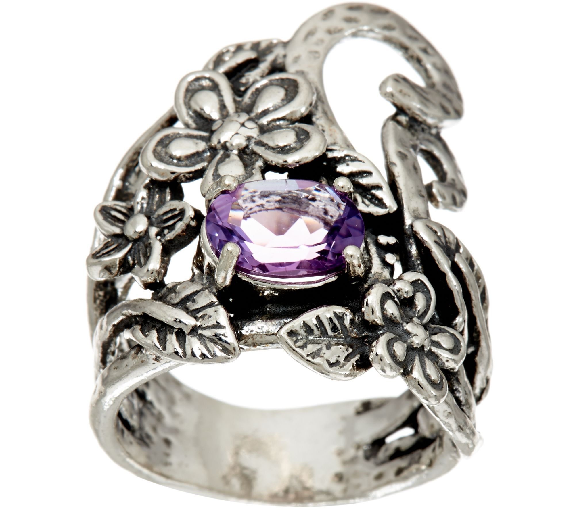 Sterling Silver Oval Gemstone Free form Floral Ring by Paz