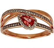 0.30 ct tw Peach Sapphire and 1/6 ct Diamond Ring 14K Gold - J350100