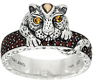 JAI Sterling Silver & 14K Leopard & Pave Gemstone Band Ring - J350400