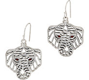 JAI Sterling Silver Figural Elephant Earrings with Garnet Eyes - J351700