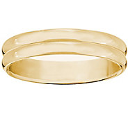 Womens 14K Yellow Gold 4mm Double Ribbed Wedding Band - J376700