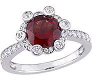 14K 2.15 cttw Garnet, White Sapphire & 1/2 cttwDiamond Ring - J377100
