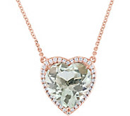 14K 4.6 ct Green Amethyst & 1/6 cttw Diamond Heart Necklace - J377800
