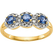 14K Sapphire & Diamond 3-Stone Ring - J378300