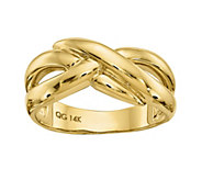 14K Gold Polished Crossover Dome Ring - J382100