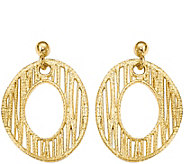 Italian Gold 1 Textured Disk Dangle Earrings 14K, 3.3g - J382200