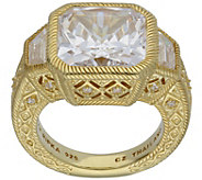 Judith Ripka 14K-Clad 10.65-Carat Cushion-Cut Diamonique Ring - J383600